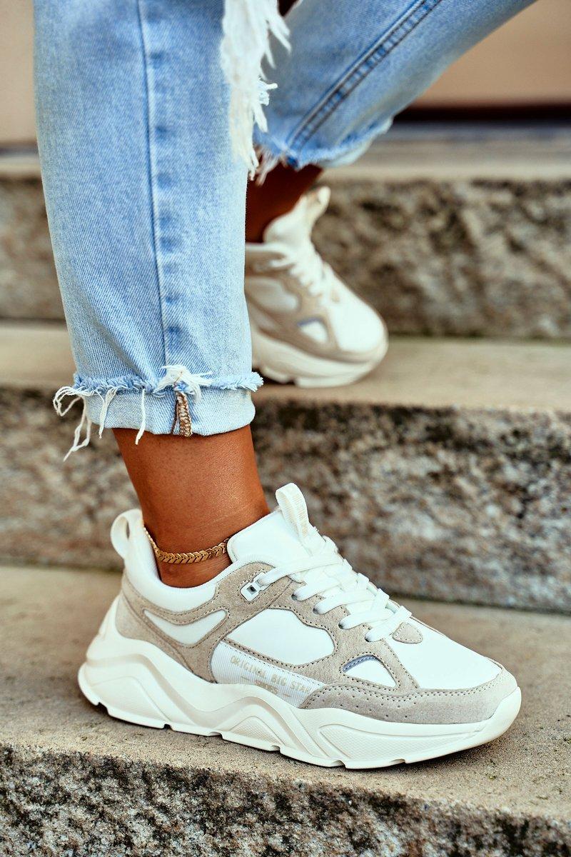 Dámske bielo-béžové tenisky - 36
