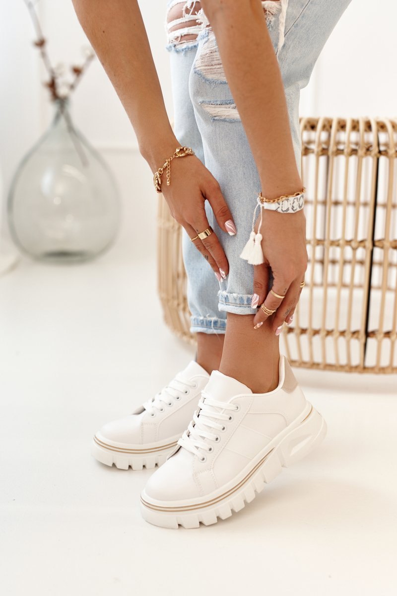 Biele tenisky na platforme - 38