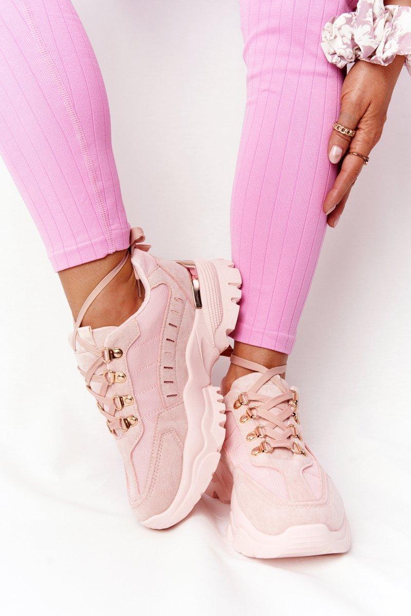 Ružové športové tenisky na hrubej podrážke - 40