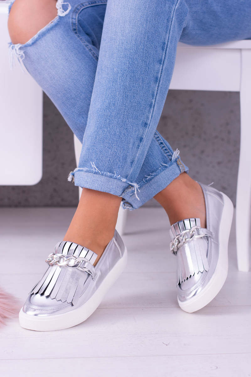 Pohodlné dámske tenisky v sivo-striebornej farbe - 40