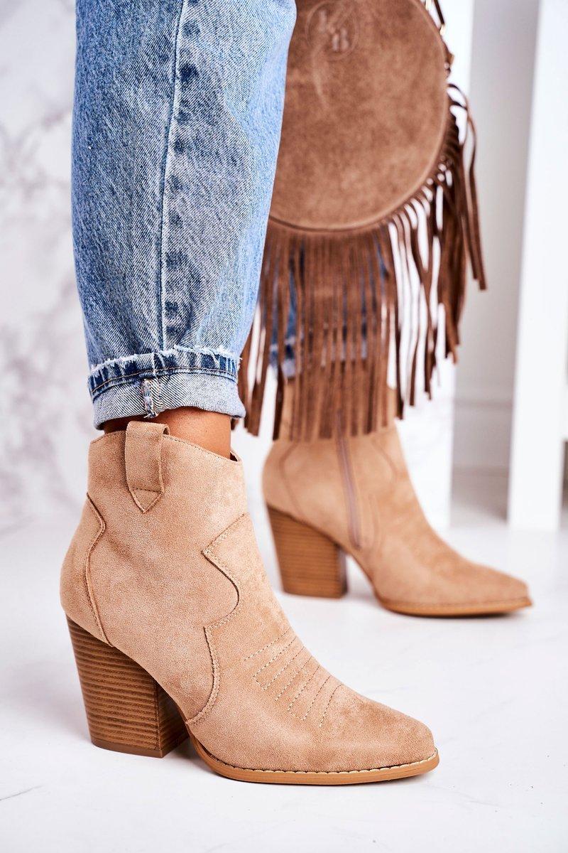 Dámske béžové semišové topánky - 39