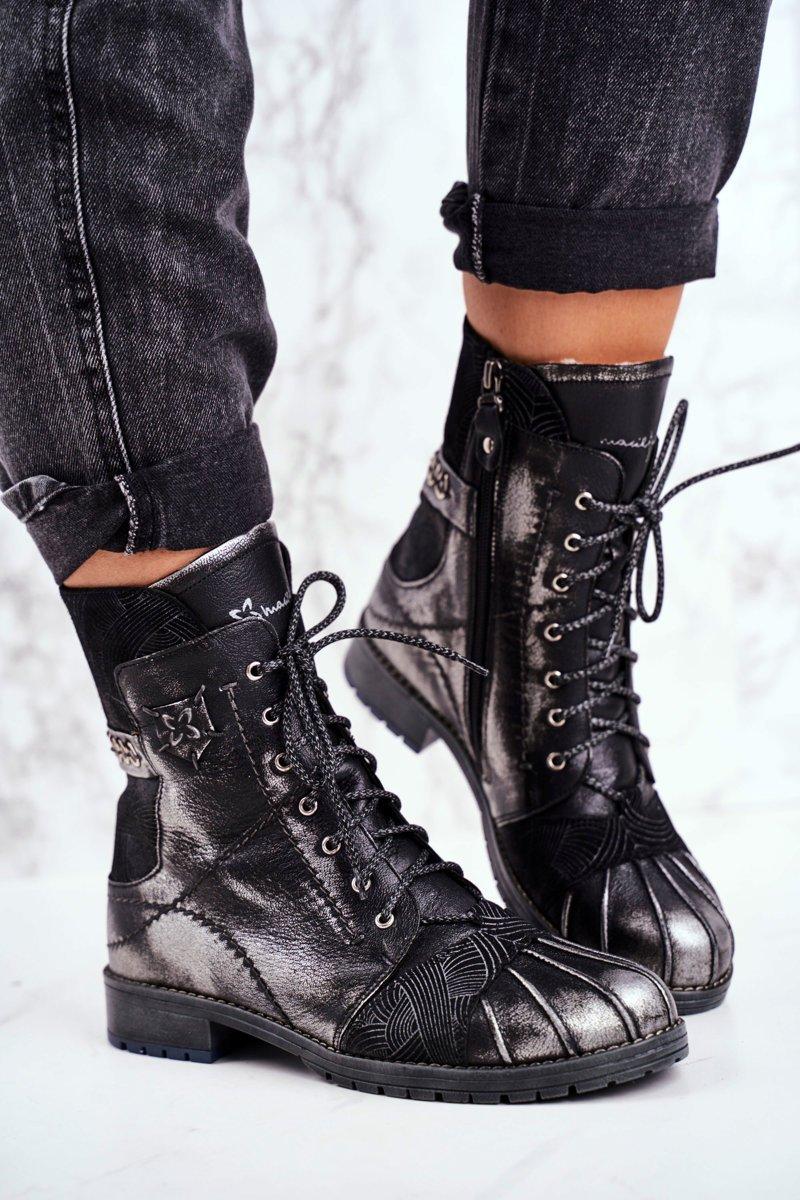 Dámske čierne teplé kožené topánky - 36