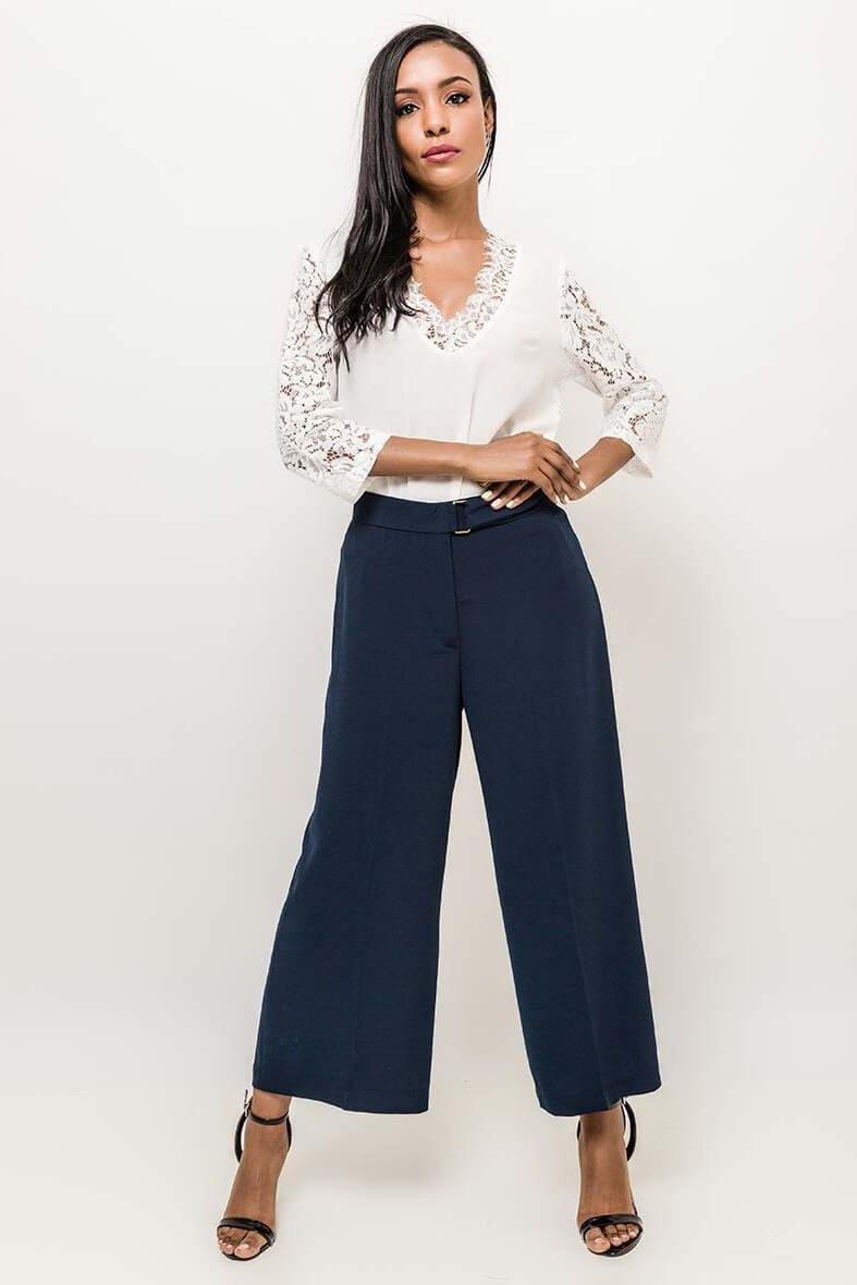 Dámske tmavomodré elegantné nohavice - XL