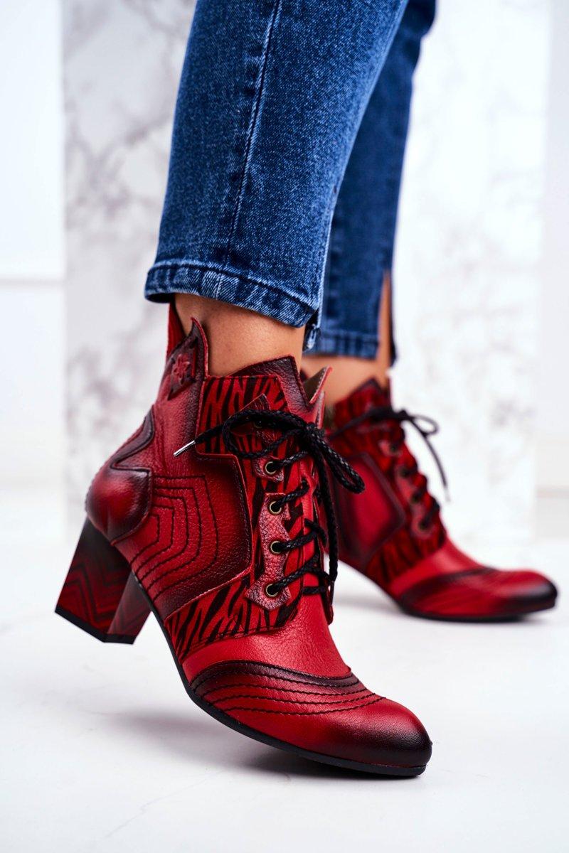Dámske červené topánky na šnurovanie - 38