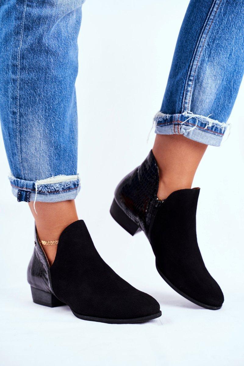 Čierne členkové topánky na plochom podpätku - 36