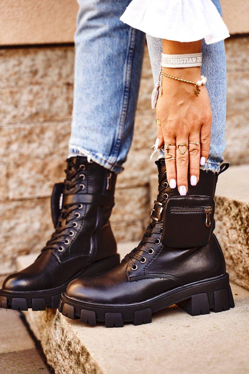 Dámske čierne topánky na platforme - 36