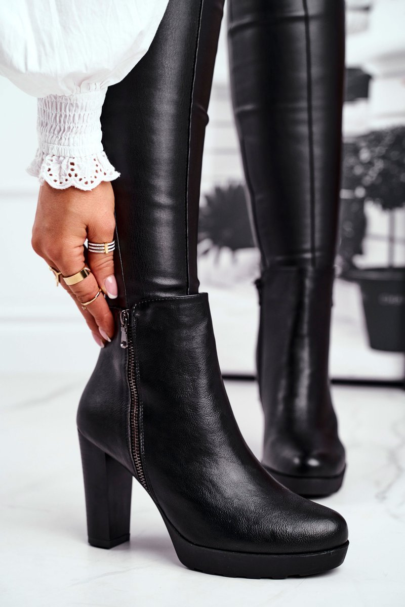 Dámske čierne topánky na zips - 36
