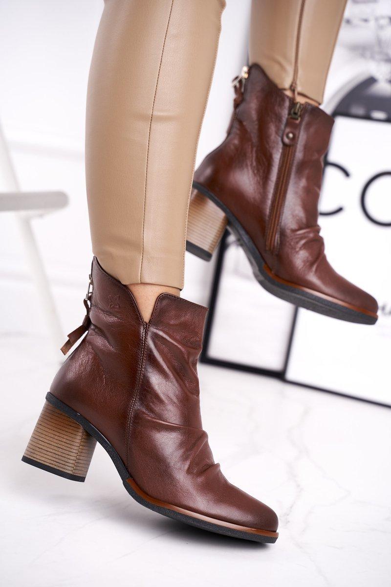 Dámske hnedé členkové topánky - 40