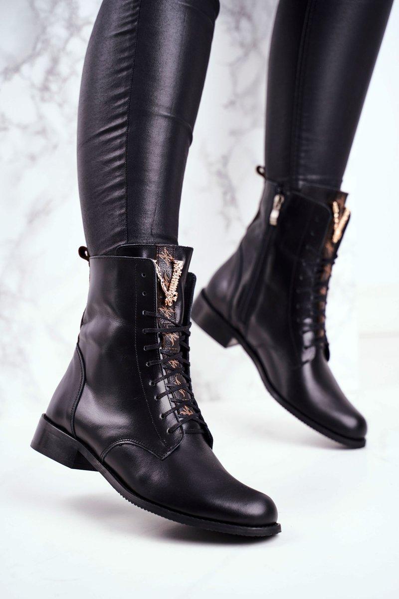 Dámske čierne topánky na šnurovanie - 36