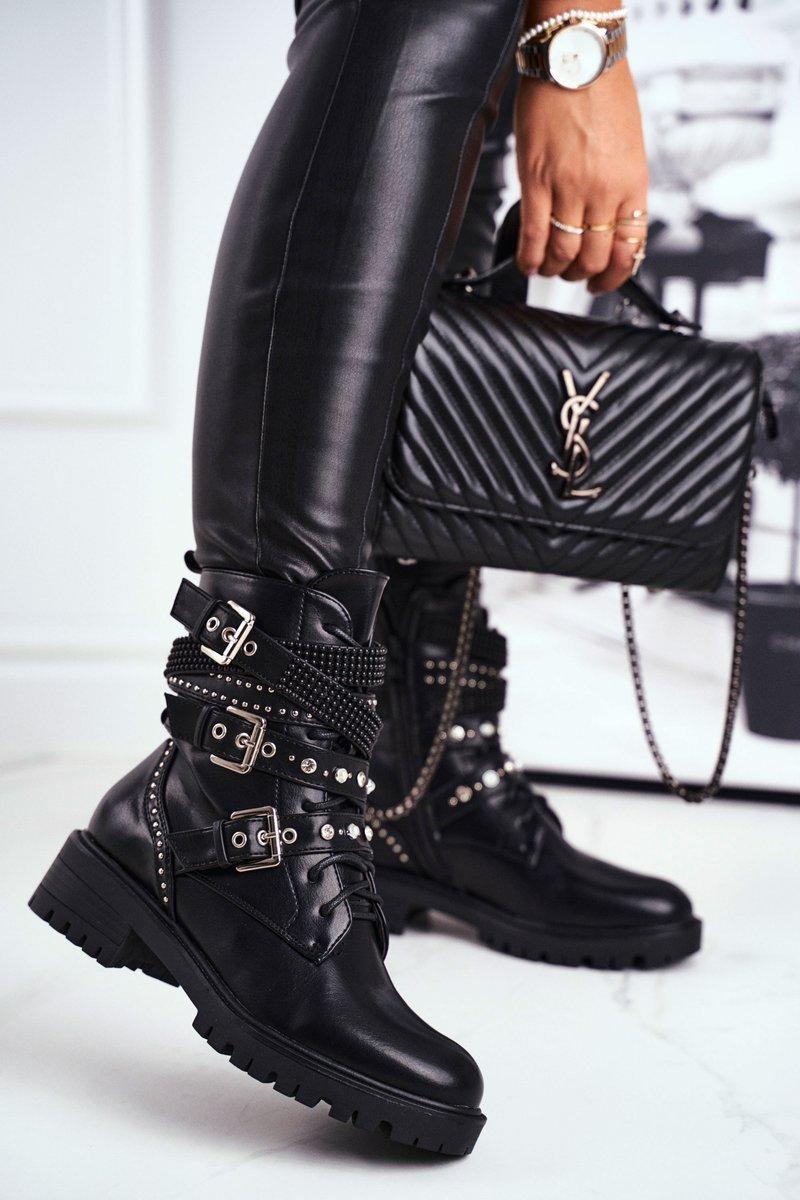 Dámske čierne topánky s prackami - 36