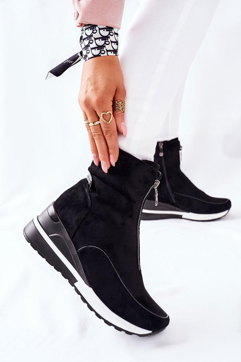 Čierne topánky na klinovom podpätku - 40