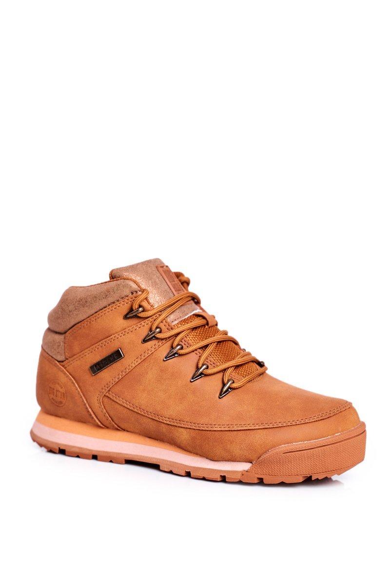 Dámske hnedé trekové topánky na šnurovanie - 36