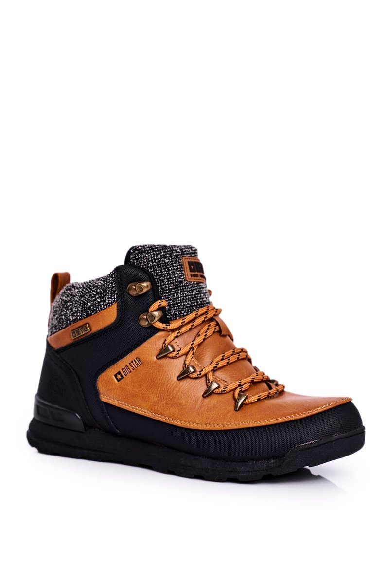 Dámske hnedé trekové topánky s logom - 36