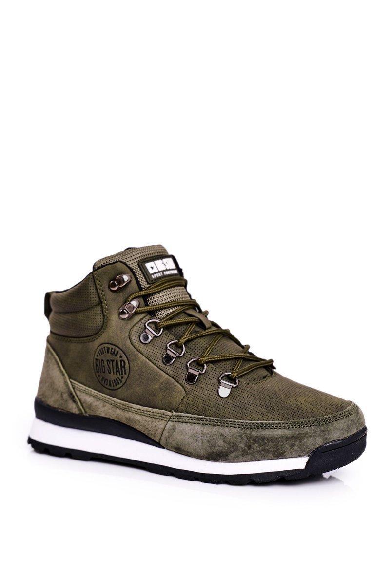 Dámske zelené trekové topánky s logom - 38