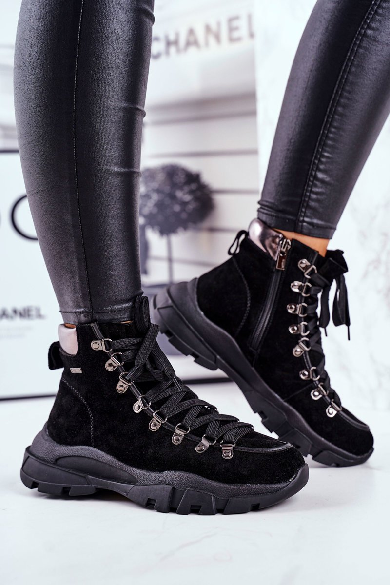 Dámske čierne semišové trekové topánky - 38