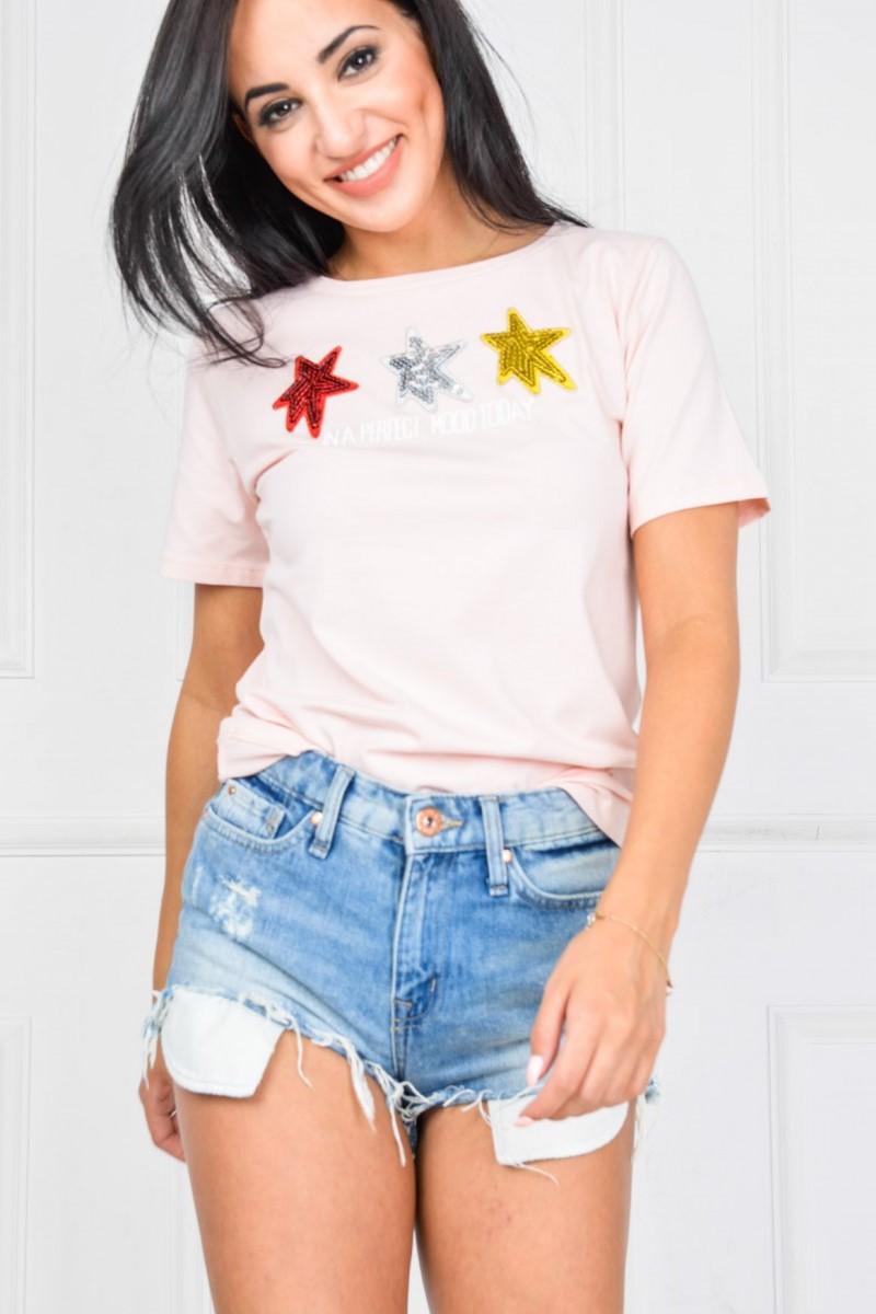 Dámske ružové tričko s hviedzičkami - M