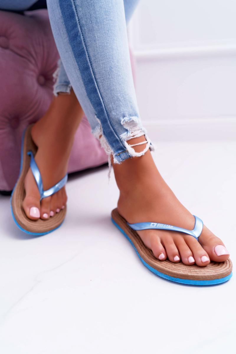 Klasické dámske pohodlné letné šľapky v modrej farbe - 40