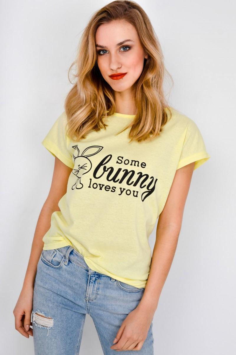 Dámske žlté tričko s krátkym rukávom