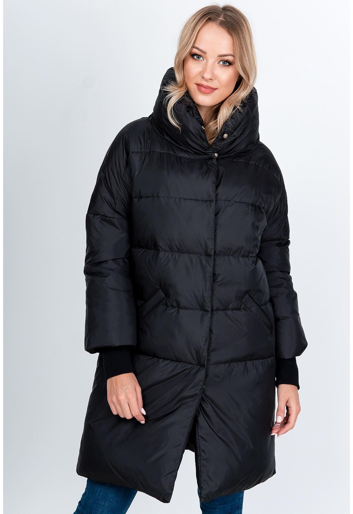 Zimná prešívaná pérova bunda čiernej farby