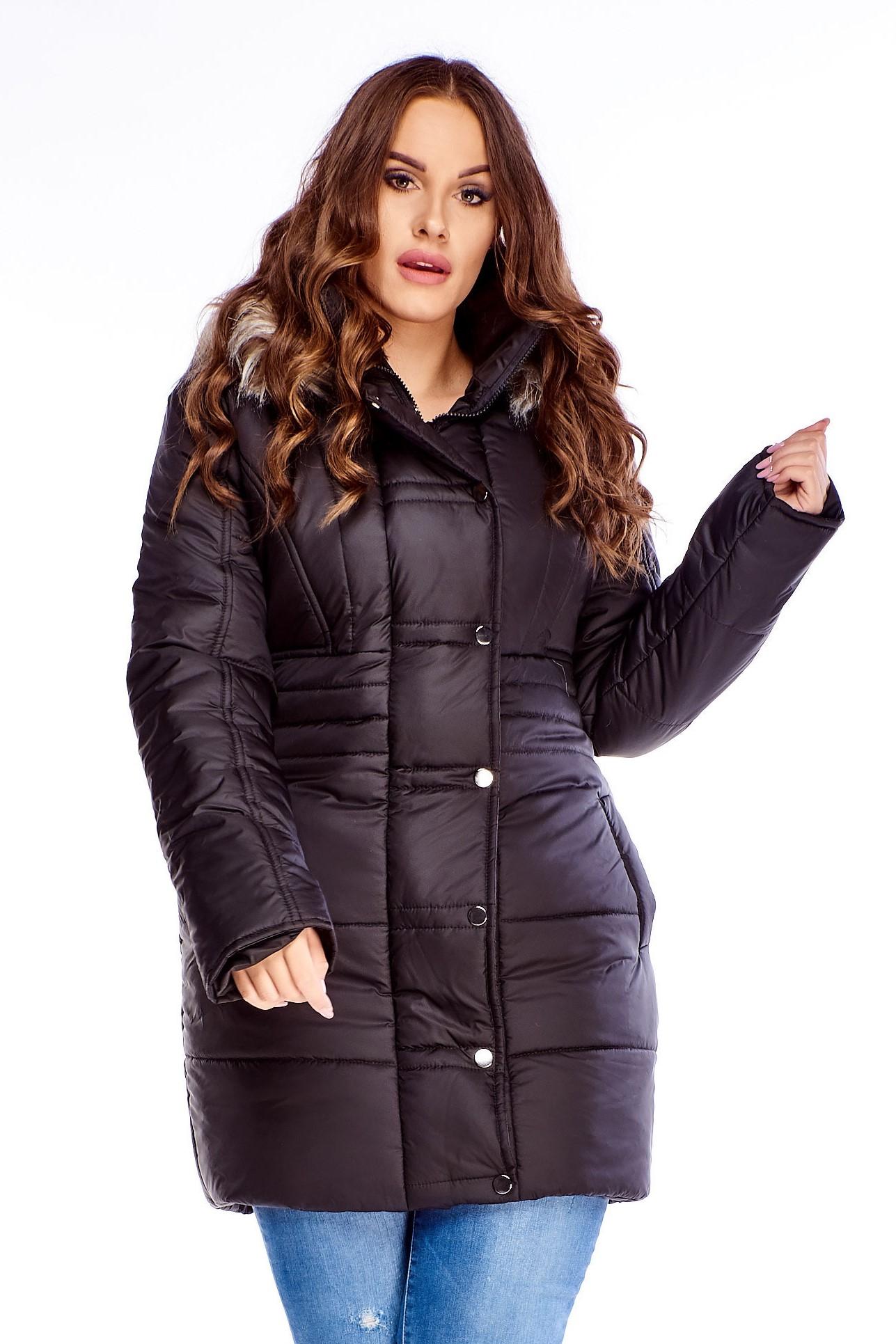 Dlhá dámska zimná bunda s kapucňou - 36
