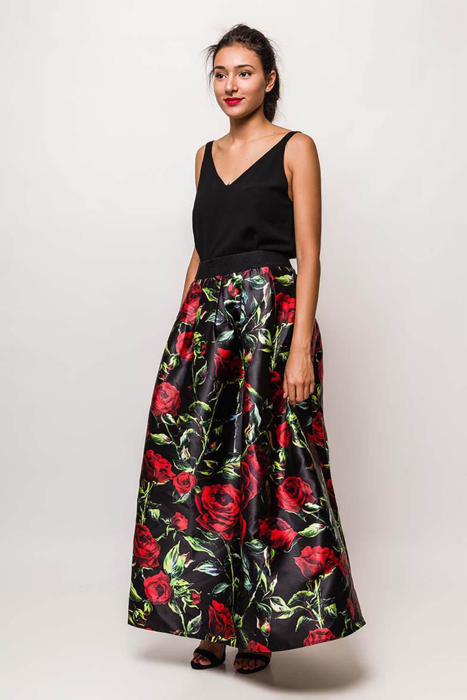 428a9a920287 Dlhá elegantná sukňa s kvetinovým vzorom - ROUZIT.SK