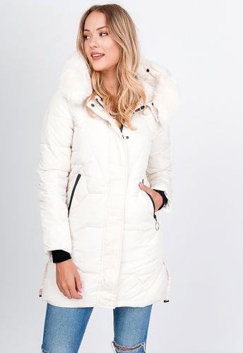 Dlhá biela zimná prešívaná bunda