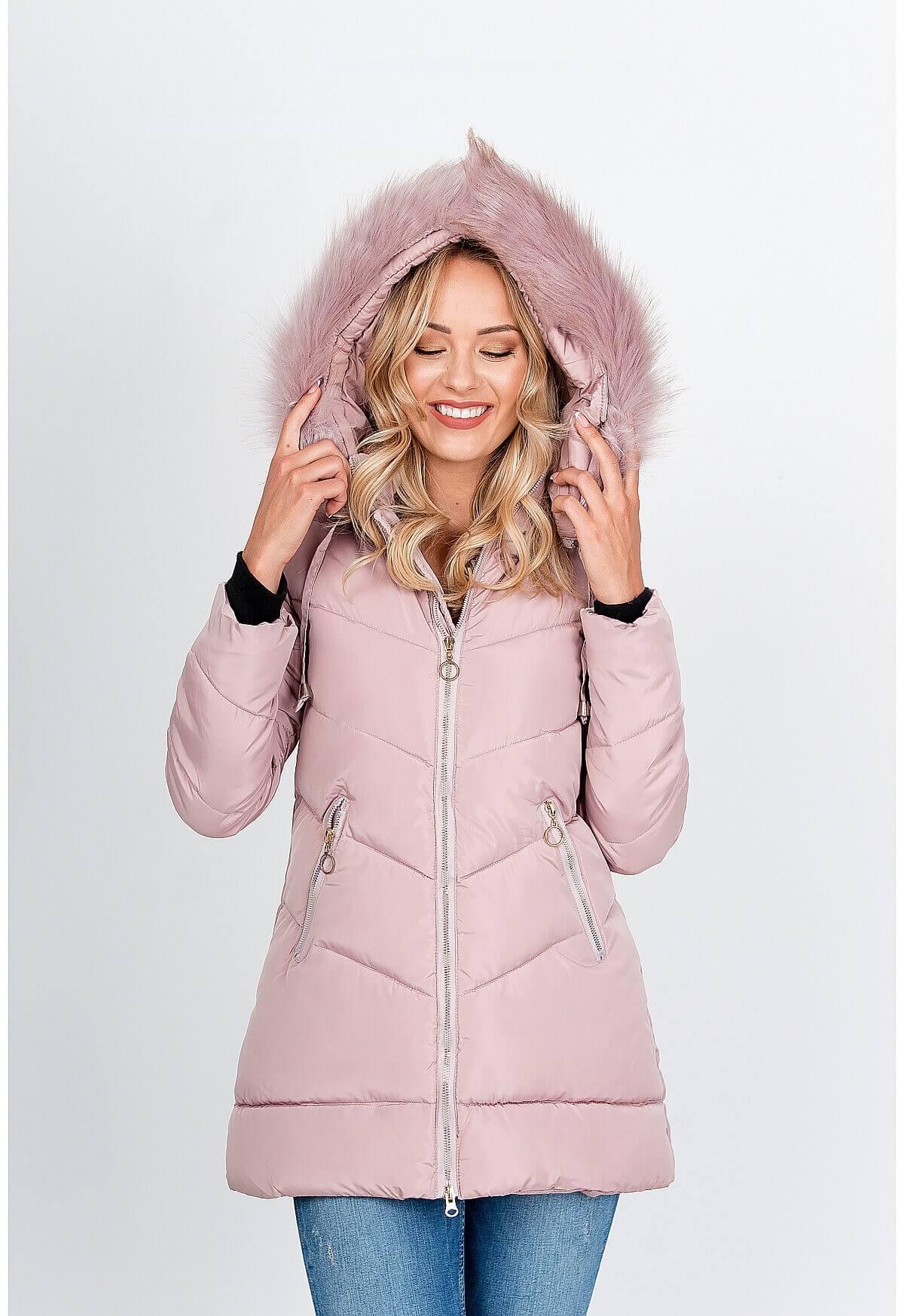 Dlhá ružová prešívaná bunda s kapucňou - XXL