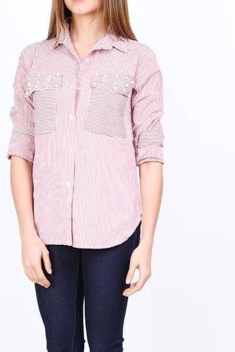 Dlhá ružová pruhovaná košeľa s perličkami