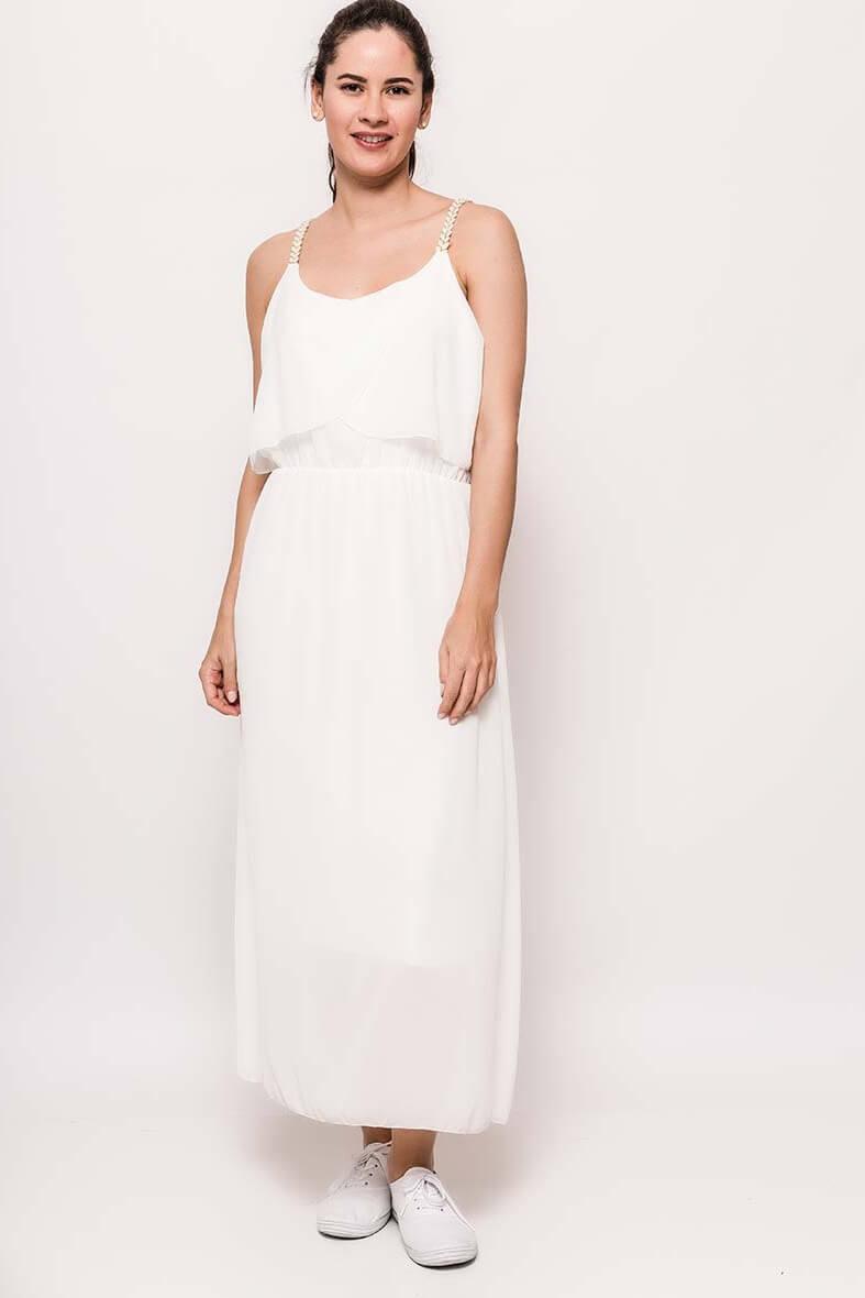 Dlhé biele šaty na ramienka - ROUZIT.SK 0793f9d162a