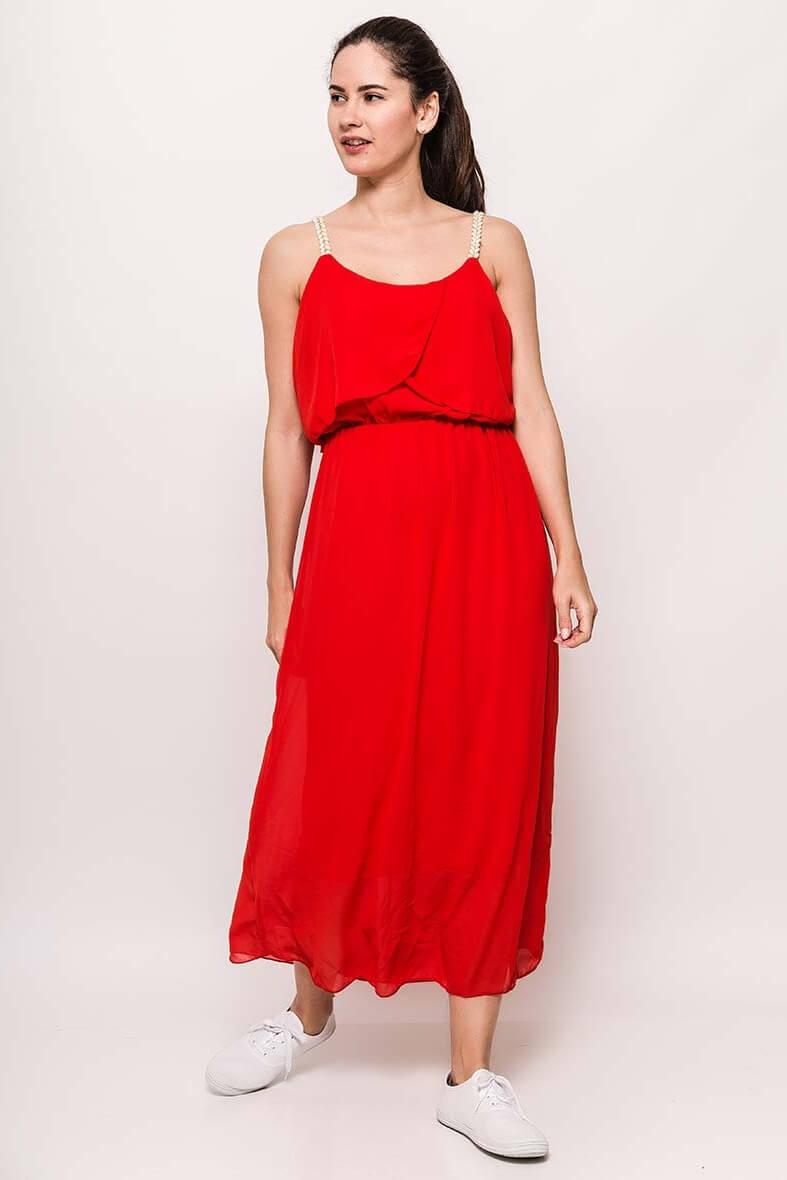 Dlhé červené šaty na ramienka