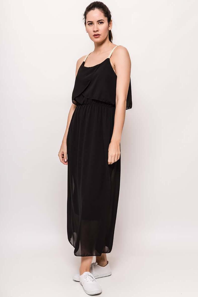 Dlhé čierne šaty na ramienka
