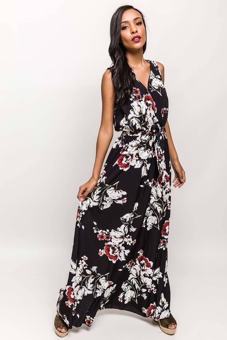 Dlhé čierne šaty s kvetovým vzorom - ROUZIT.SK ae92adc2655