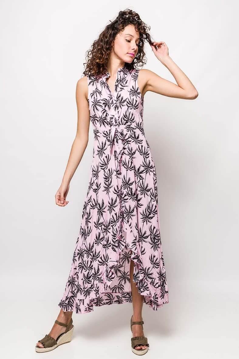 Dlhé ružové košeľové šaty so vzorom palmových listov - ROUZIT.SK 4d7dbe0aea7