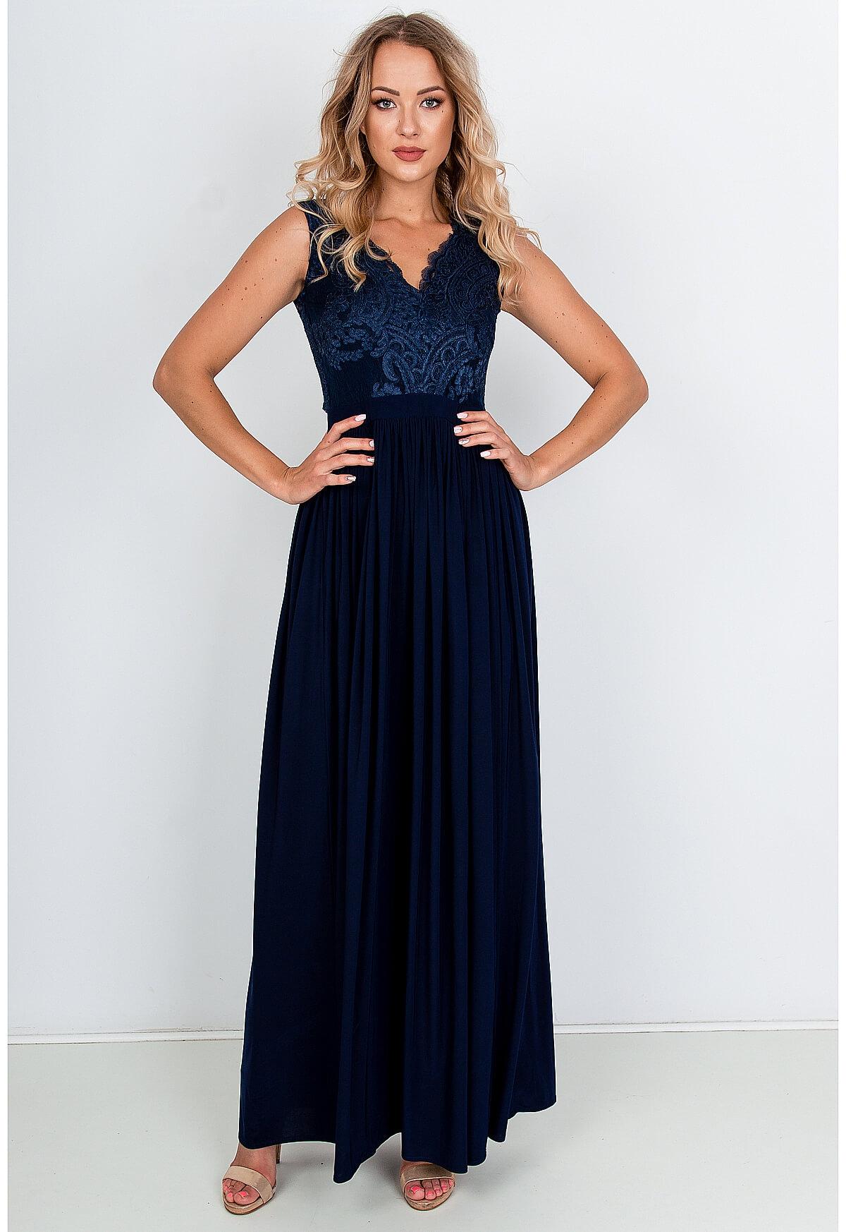Dlhé spoločenské šaty modrej farby - S