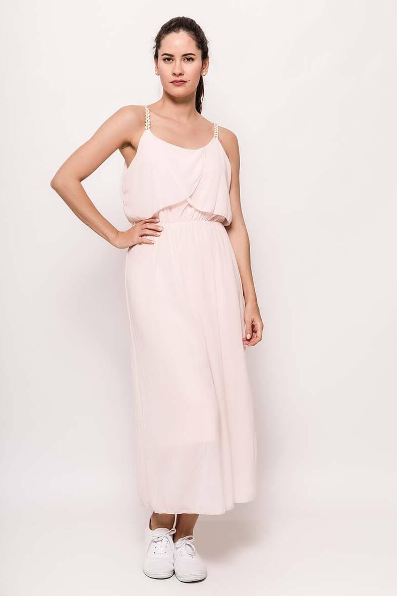 Dlhé svetloružové šaty na ramienka
