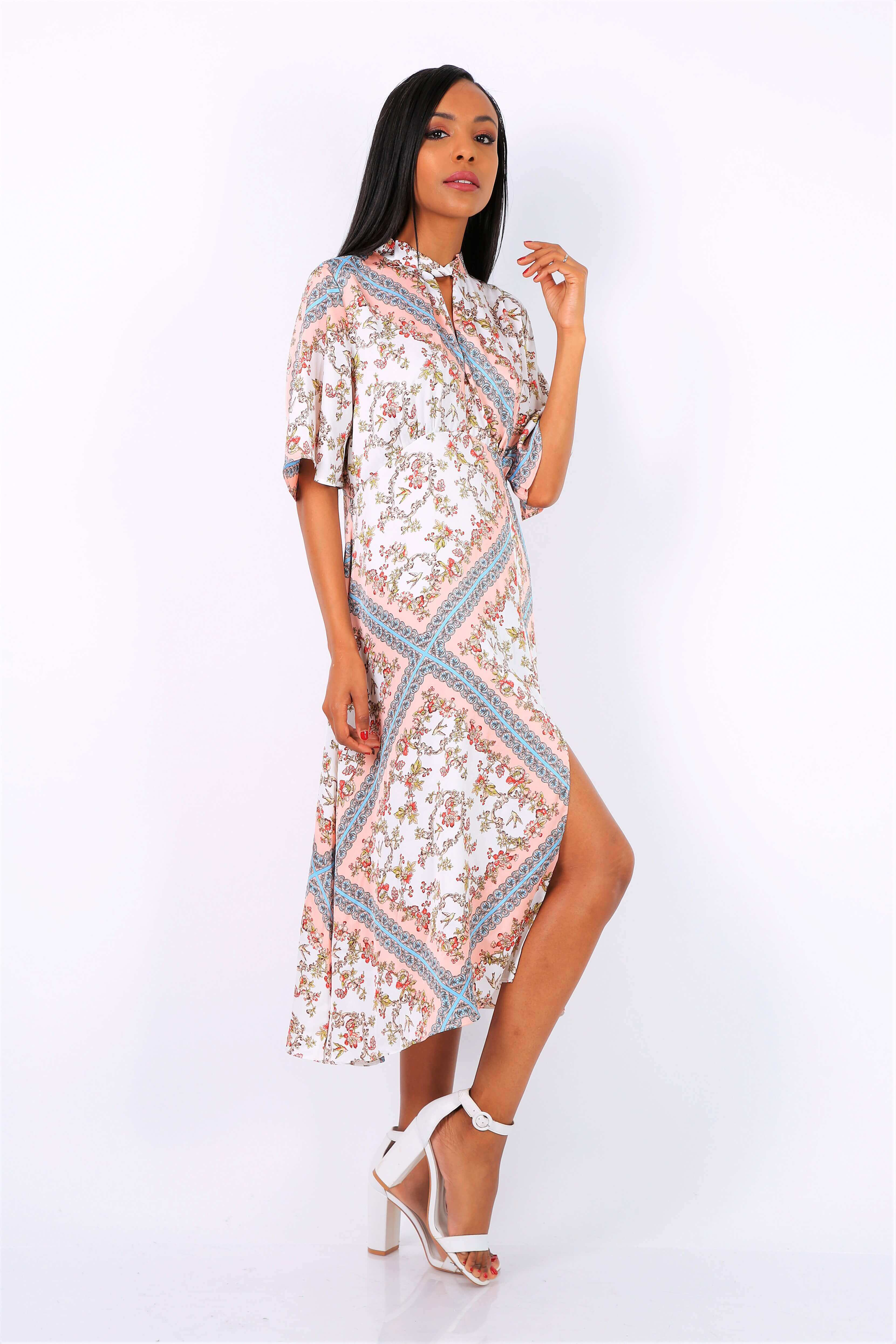 8980bd721 Dlhé vzorované biele šaty s rozparkom - ROUZIT.SK
