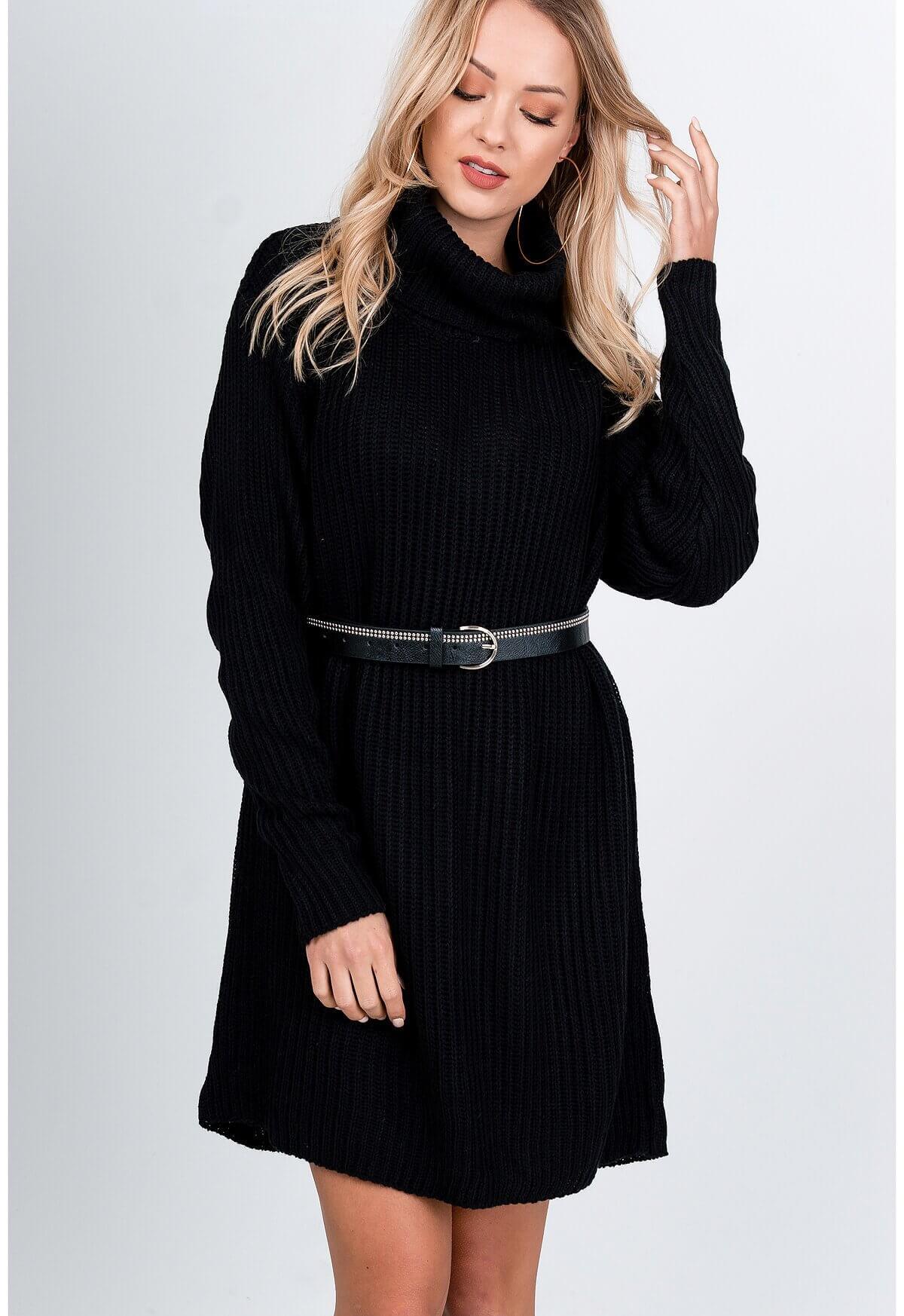 Dlhý čierny sveter s rolákom - UNI