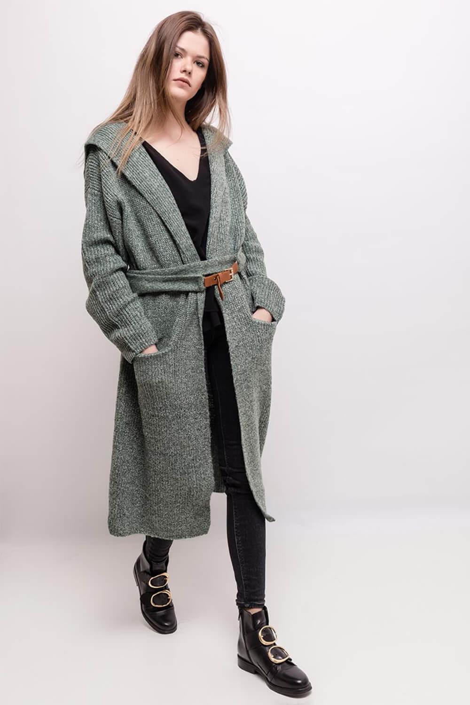 Dlhý svetlo zelený kardigan s vreckami a kapucňou - Dámske oblečenie ... 0d8d84af32