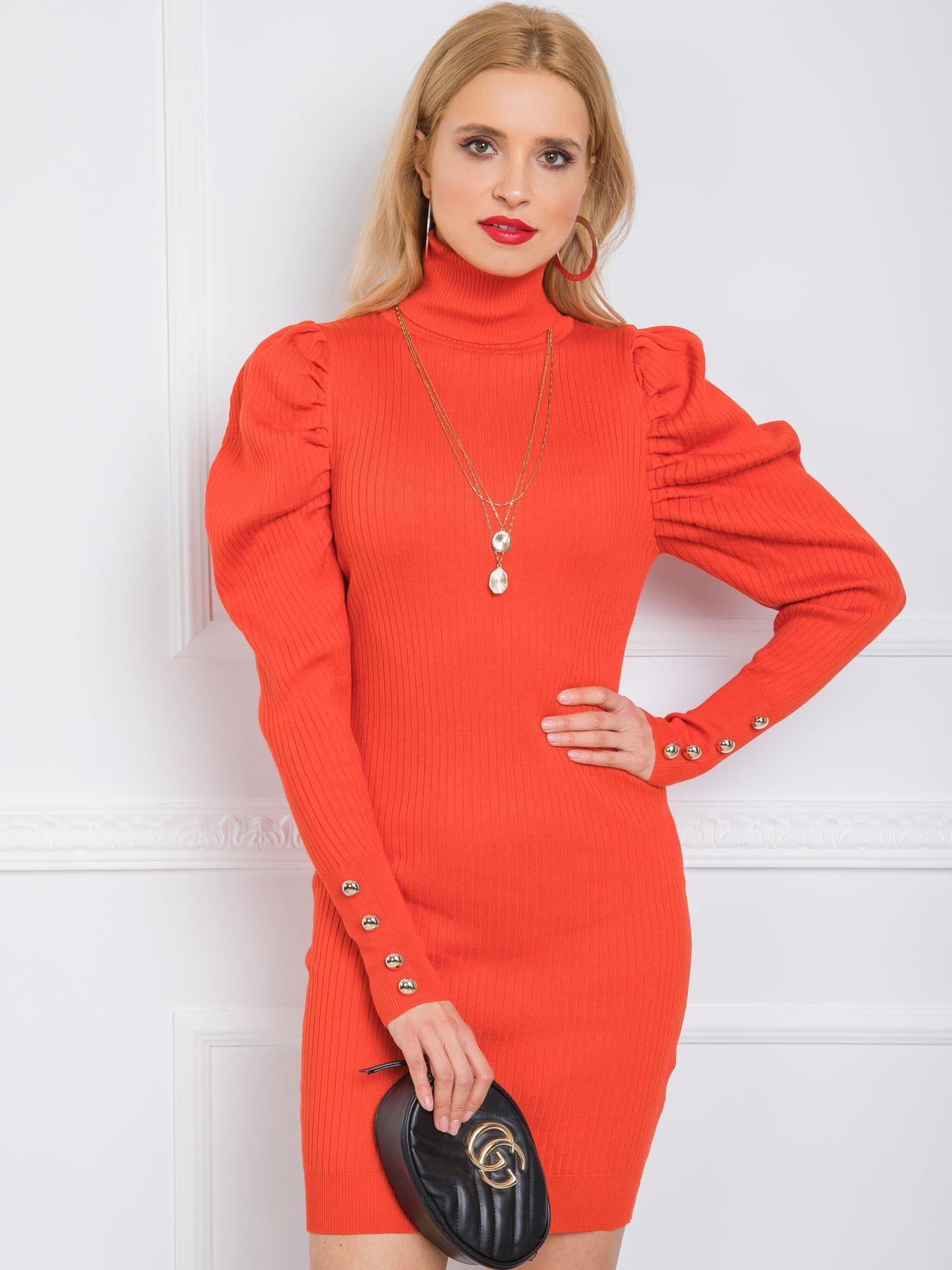 Oranžové šaty s nariasenými rukávmi - S/M