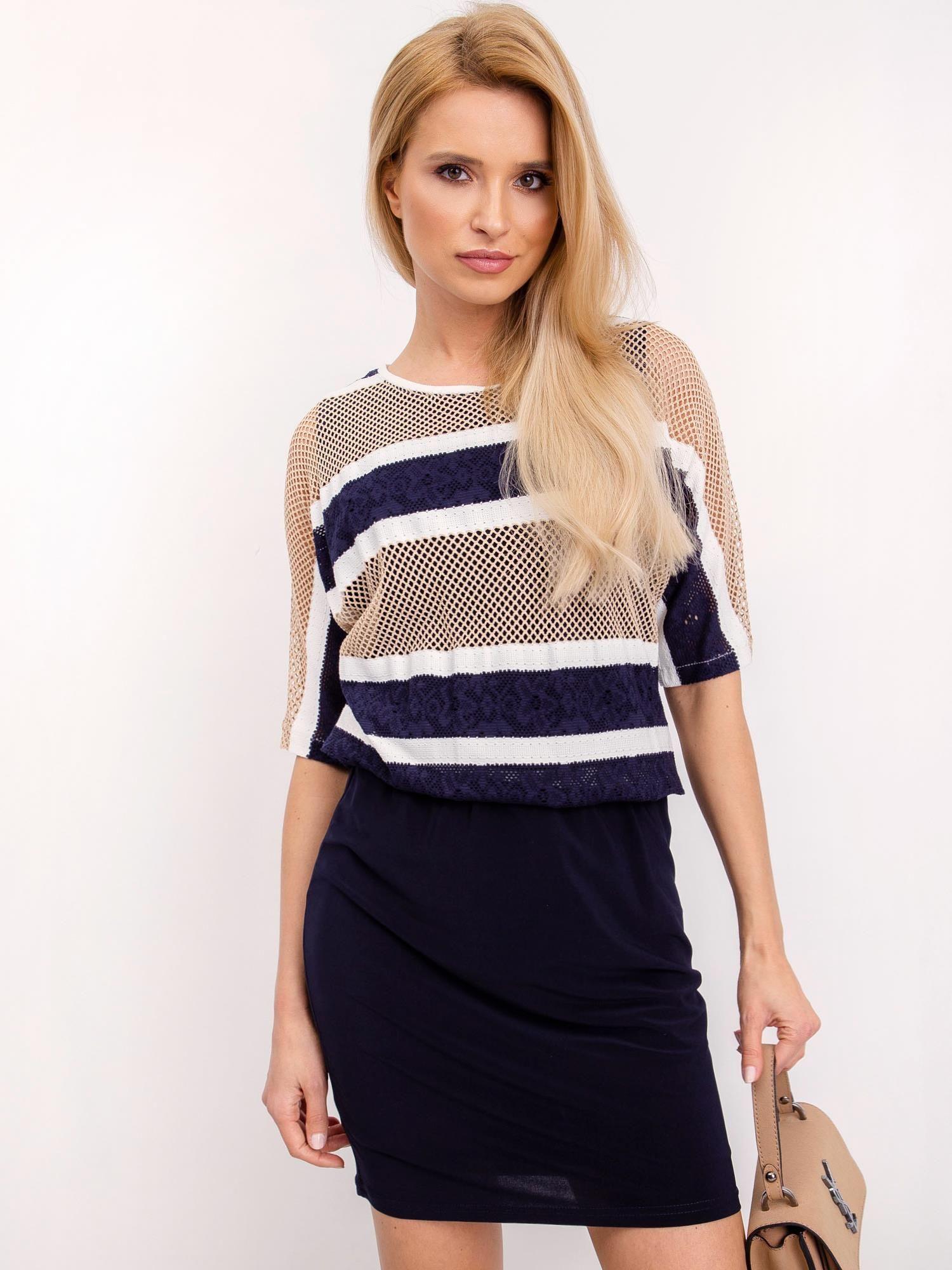 Pruhované modro-béžové šaty s elastickým pásom - 44