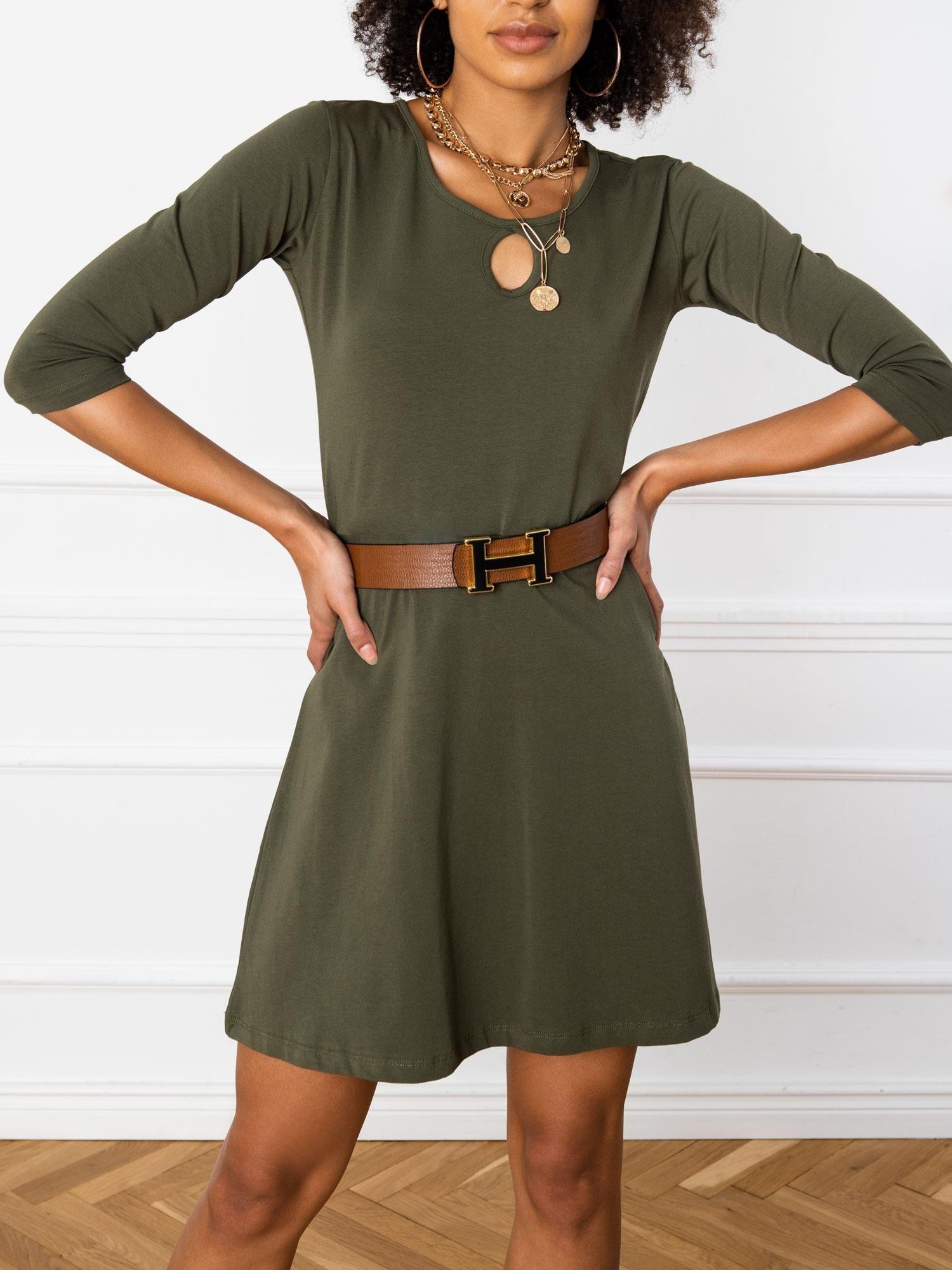 Jednoduché krátke kaki šaty - M