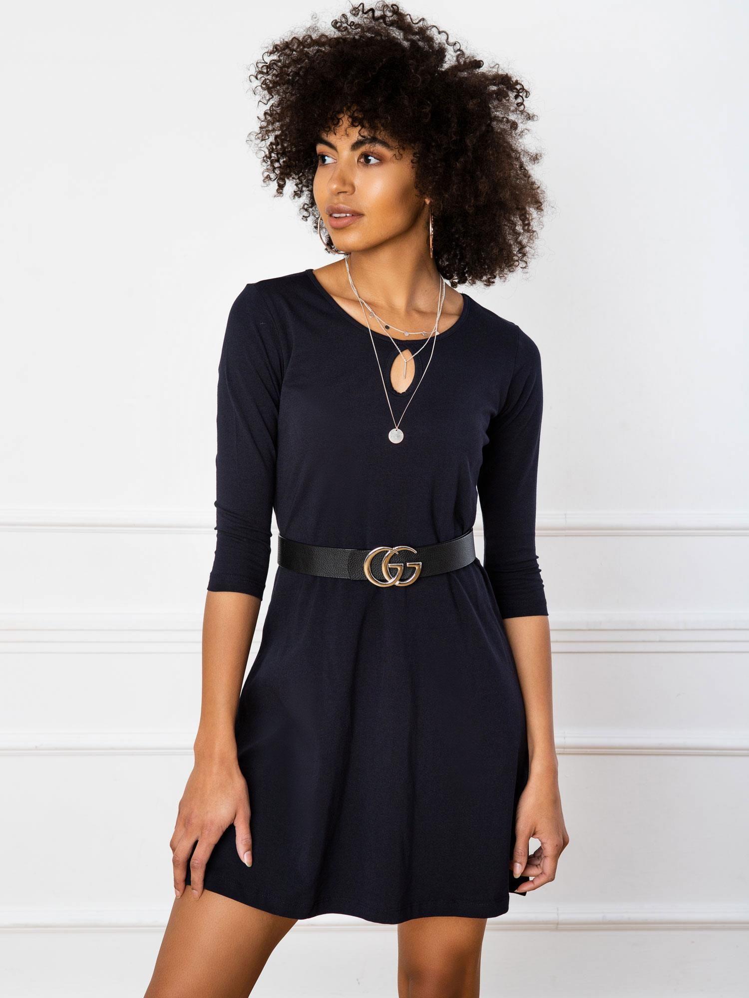 Jednoduché krátke tmavomodré šaty - M