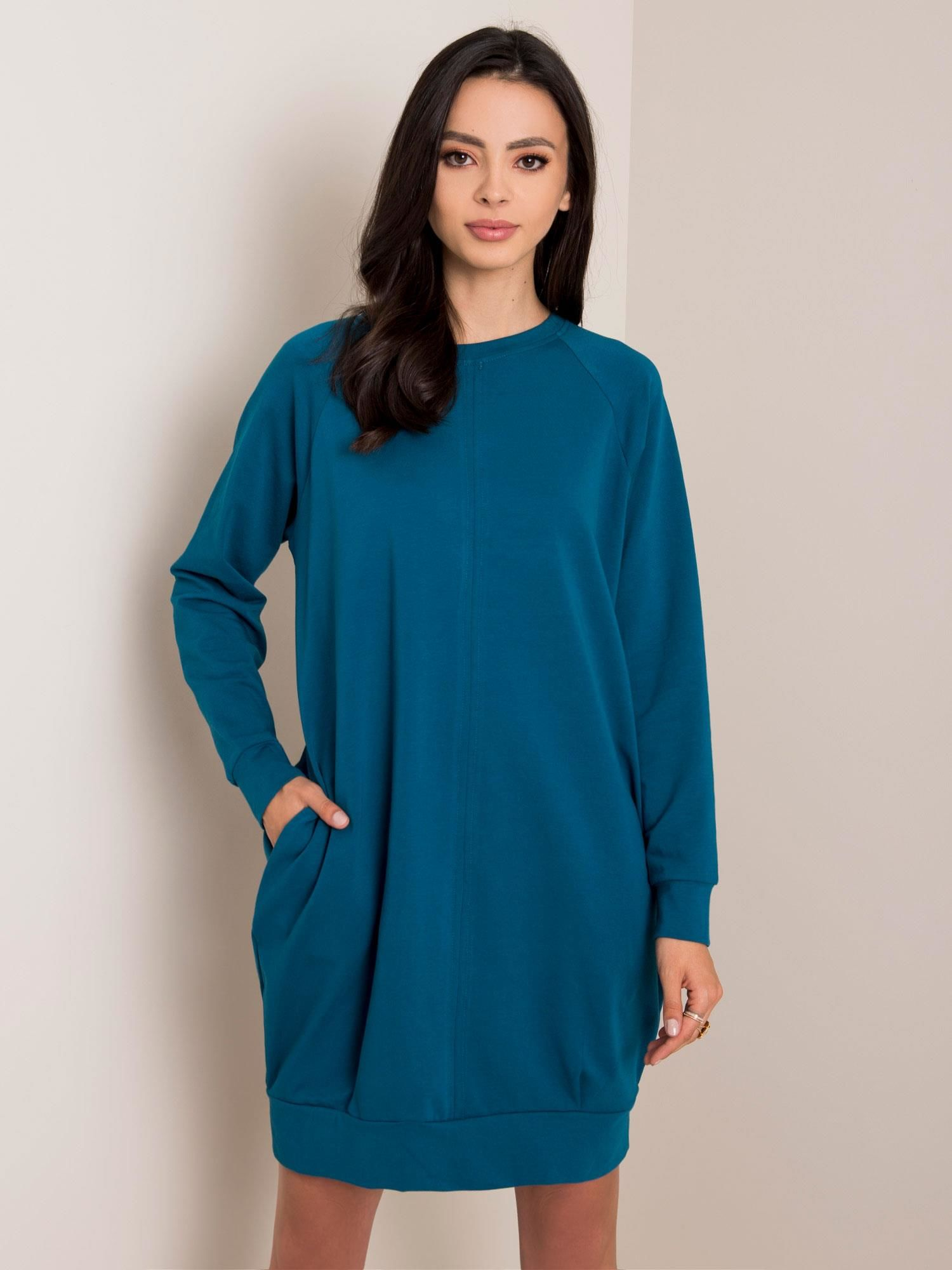 Tmavomodré bavlnené šaty s dlhým rukávom - S/M
