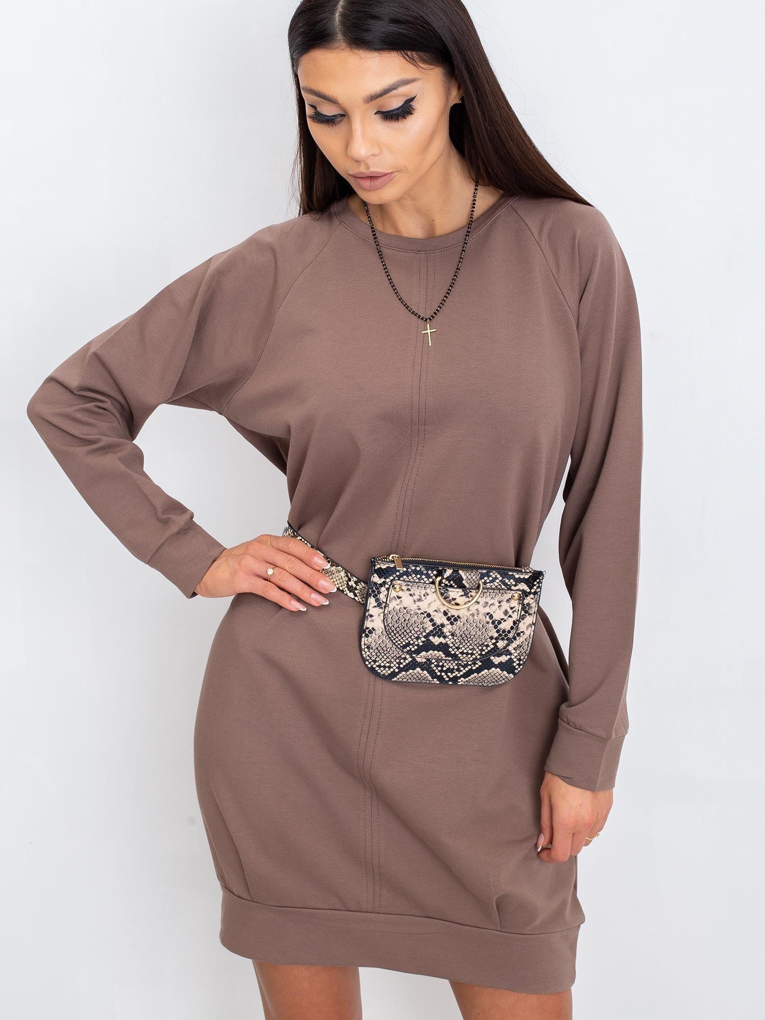 Tmavobéžové bavlnené šaty s dlhým rukávom - S/M