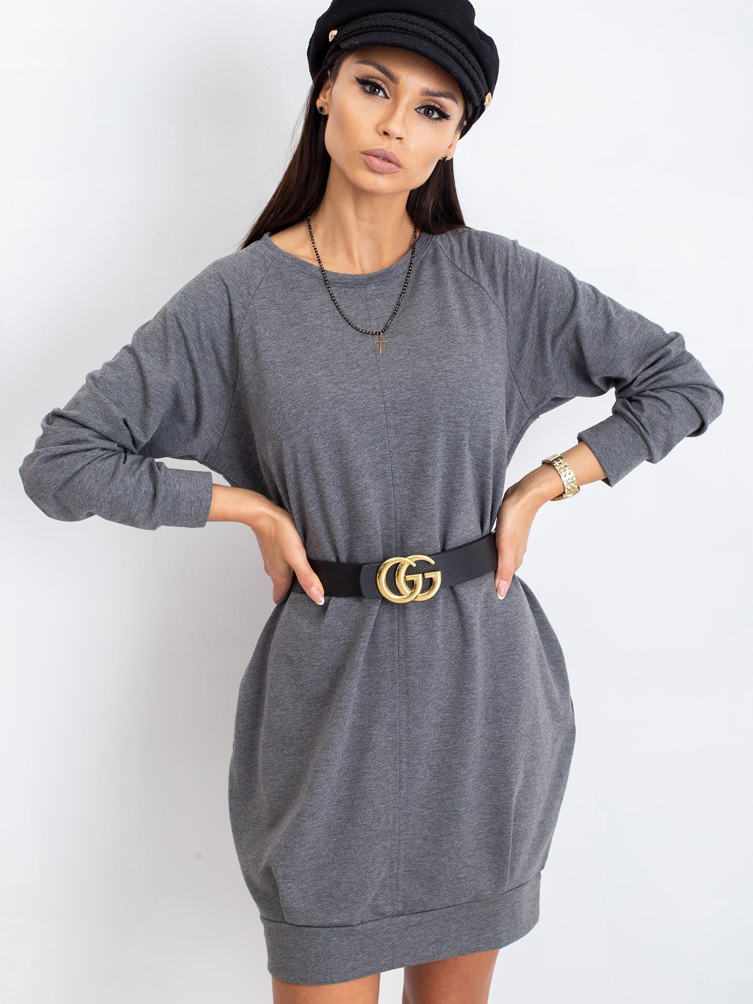 Tmavosivé bavlnené šaty s dlhým rukávom - S/M