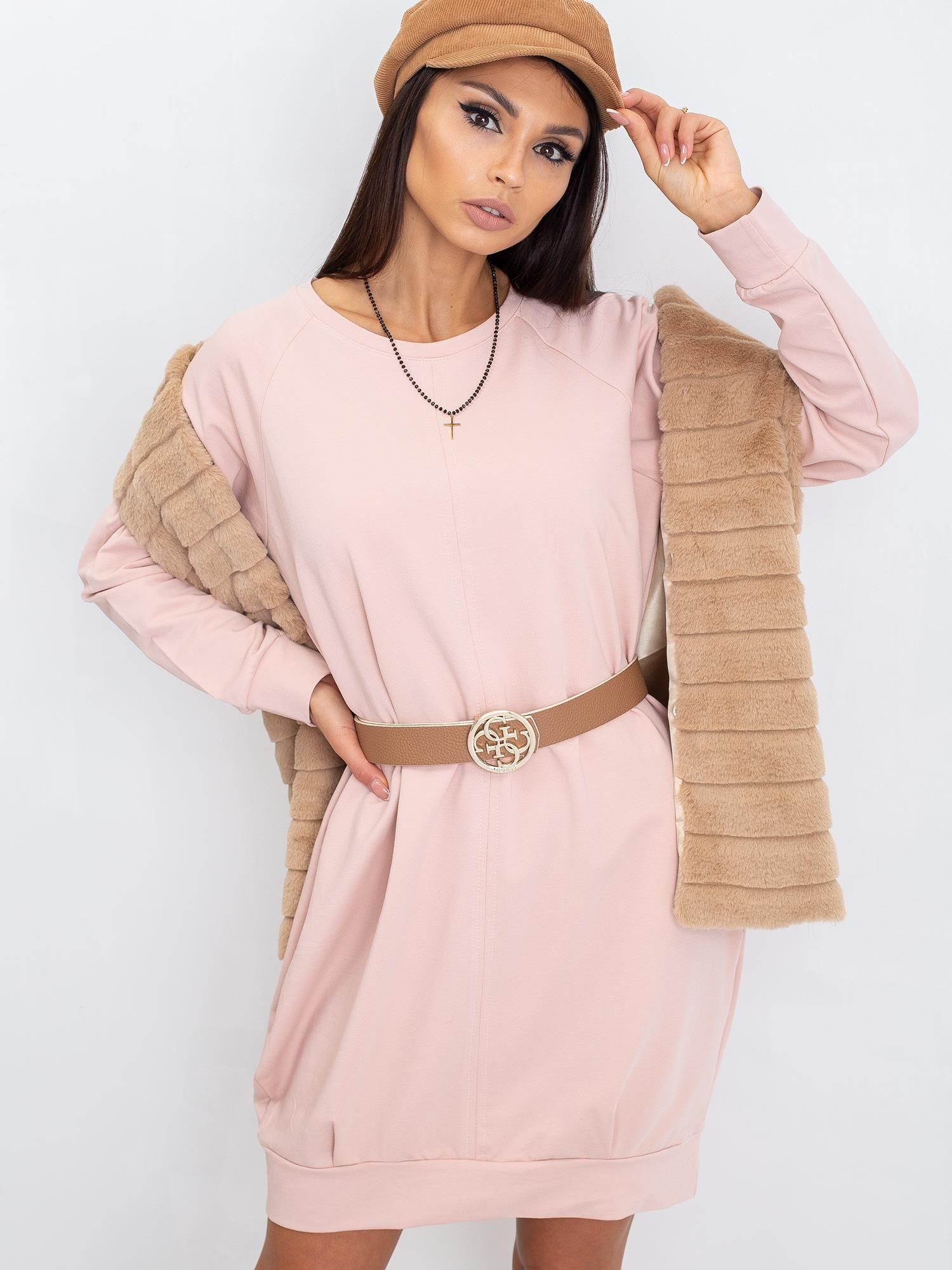 Svetloružové bavlnené šaty s dlhým rukávom - S/M