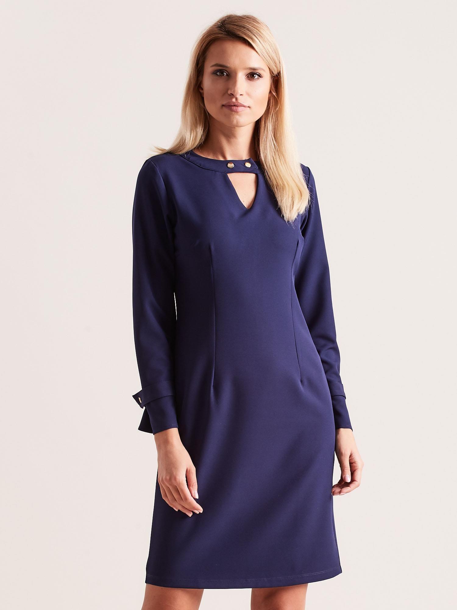 Elegantné modré šaty s výstrihom do V - M