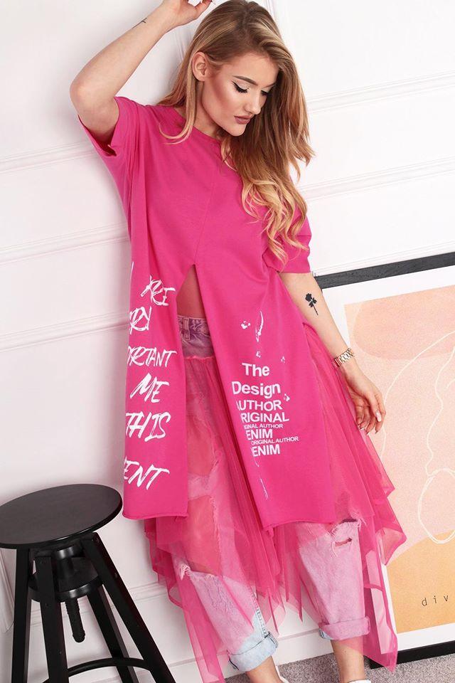 Ružová dvojvrstvová tunika s tylovou spodničkou - UNI