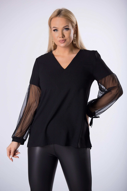 Elegantná čierna blúzka s tylovými rukávmi - 36