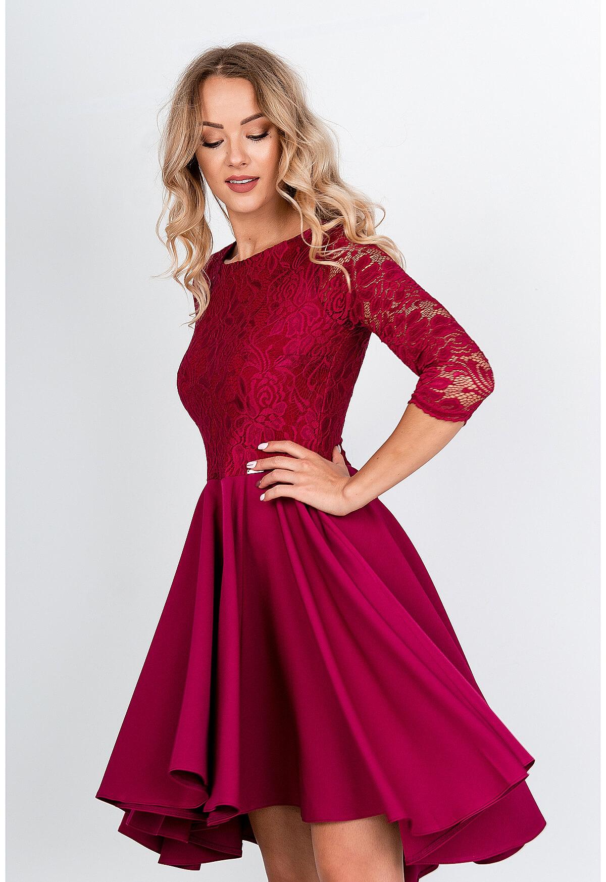 Elegantné asymetrické červené šaty - L